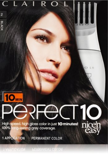 Clairol Perfect 10 By Nice 'N Easy Hair Color 002 Black 1 Kit (Pack Of 2) front-17594