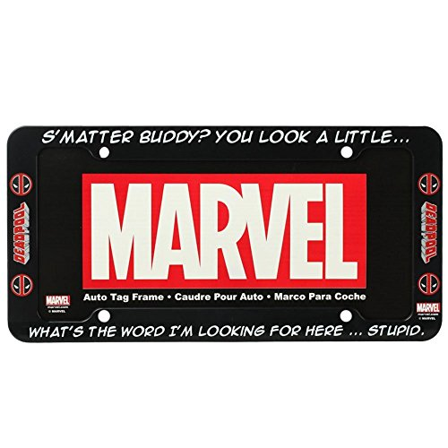 Marvel Deadpool Stupid License Plate Frame (License Plate Frame Marvel compare prices)