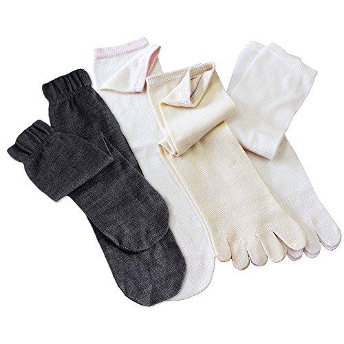 冷えとり靴下 シルク&コットン 5本指ソックス(重ねばき専用 4足セット) 日本製 正絹 綿 杢ダークグレー