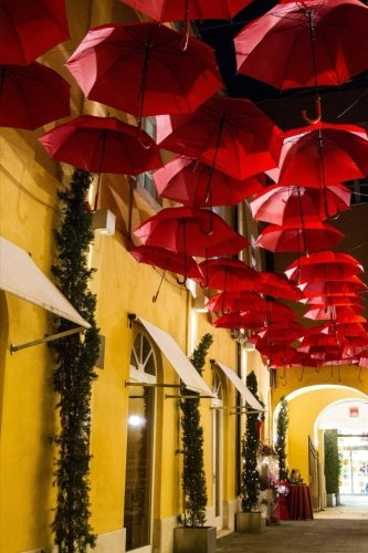 Yellow Shops and Red Umbrellas: Blank Lined Journal