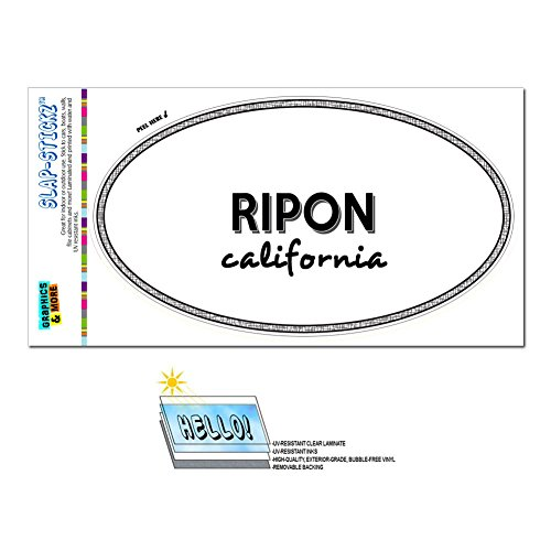 Euro Oval Window Bumper Laminated Sticker California CA City State Pac - Riv - Ripon (City Of Ripon Ca compare prices)