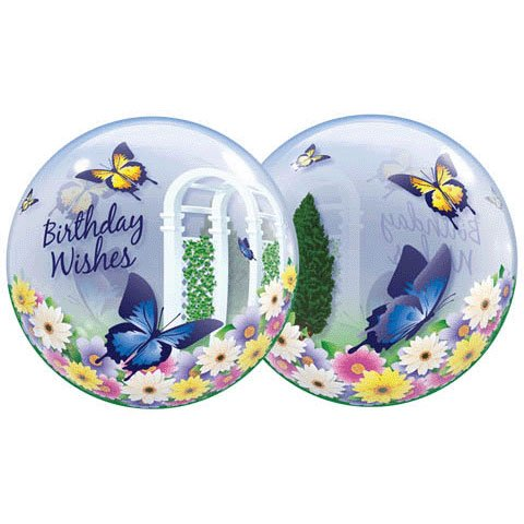 22 Inch Birthday Wishes Butterfly 3D Bubble Balloons