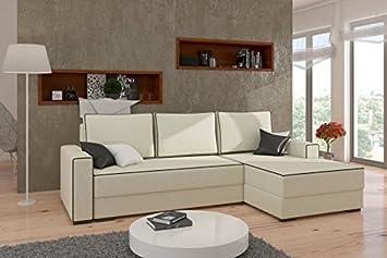 """Modernes Eck-Sofa """"Bernard"""" mit Bett-Funktion. Couch mit feinem Feinwebstoff-Bezug und komfortablem Bonell-Federkern. Elegante Wohnlandschaft. (Ottomane rechts, Farbänderung 49€)"""