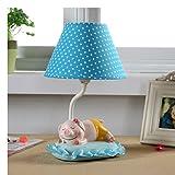 Kindertischlampe Karikatur Kreative Schlafzimmer Nachtschreibtischlampe Personalisierte dekorative Leuchten Warm Geburtstags-Geschenk ( farbe : Blau , größe : L-Pig )
