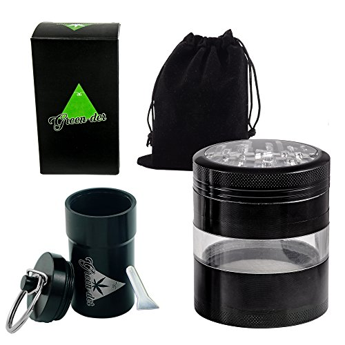 Green-Der 2.5-Inch Diameter 4-Piece Herb Grinder Set with Pollen Catcher and Airtight Container with Lid - Black (Vaporizer Herb Kit compare prices)