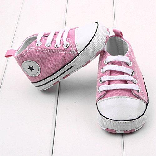 Dealzip Inc Toddler Infant Baby Boy Girls Soft Sole Canvas Sneaker for Prewalker(12-18 months,Pink)