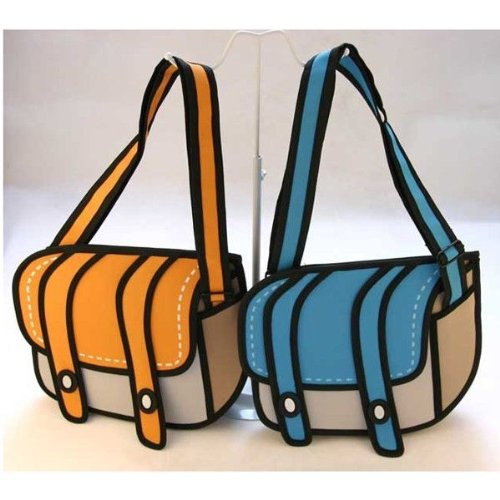 Hot 3D Style 2D Drawing From Cartoon Paper Bag Comic 3D Messenger Bags 3 Colors