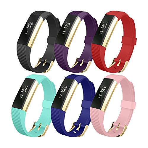 Fitbit Alta Band, UMTELE Soft Replacement Wristband with Metal Buckle Clasp for Fitbit Alta Smart Fitness Tracker - 6pack
