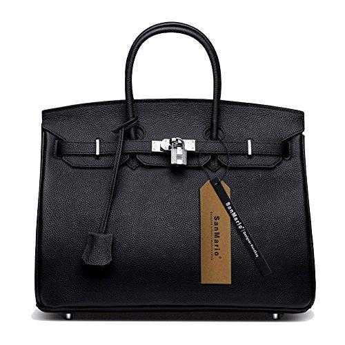 sanmario-womens-top-handle-designer-handbag-silver-hardware-black-30cm