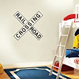 Railroad Crossing Sign - Kids Room Dcor - Peel and Stick - Removable Wall Decal - 16