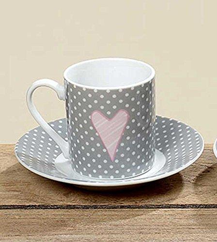 Espressotasse Lay Porzellan Grau Punkte Höhe 5,5 cm Mokkatasse Tasse