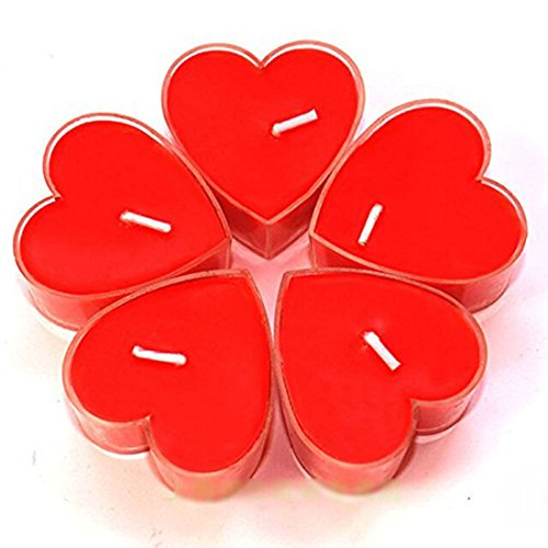 Gabkey 9Pcs Romantic Love Heart Shaped Floating Candle for for Daily household Wedding Birthday Party Candlelight Dinner Coffee Shop Hotel KTV Red
