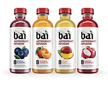 Bai Antioxidant Infused Beverages:You just can't top our original Bai drinks. Each exotic flavor of our bai drinks is antioxidant-infused using coffeefruit, our not-so-secret superfruit, and has 5 calories, and 1 gram of sugar per serving with no art...