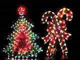 ツリー&キャンディー2点セット 室内用 クリスマスイルミネーションライト 連結可 リバーシブル