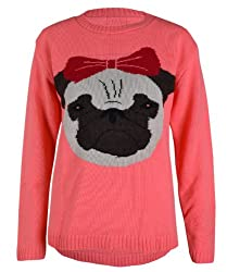 Ladies Knitted Jumper Pug Dog Face Puppy Bow Jumpers