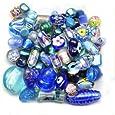 Mélange perles de verre 6 à 28mm bleu