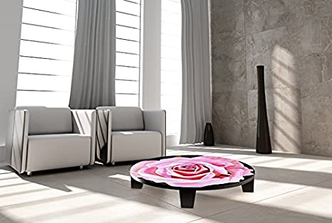 "TAF DECOR ""Rose Quartz"" Art Coffee Table, 35"" X 35"" X 7.5"", Multicolored"