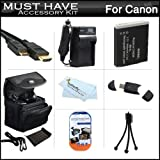 Must Have Accessory Kit For Canon PowerShot SX500 IS, SX510 HS, SX520 HS, SX530HS SX530 HS Digital Camera Includes Extended Replacement (1200maH) NB-6L Battery + Ac/Dc Travel Charger + Mini HDMI Cable + Deluxe Case + Mini Tripod + Screen Protectors + More