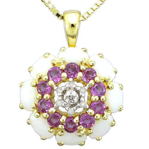 18k Yellow Gold Plated Sterling Silver Opal and Rhodolite Garnet Diamond-Accent Pendant Necklace, 18