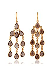 18K Yellow Gold Plated Sterling Silver Faceted Smoky Quartz Chandelier Earrings