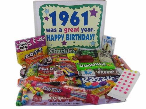 50th Birthday Gift Basket Box - Nostalgic Candy: 196150th Birthday Gift Basket Box - Nostalgic Candy: 1961