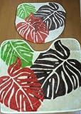 ハワイアン雑貨/ トイレマット2点セット(ウォシュレット用) モンステラ/OR 【ハワイ雑貨】【お土産】