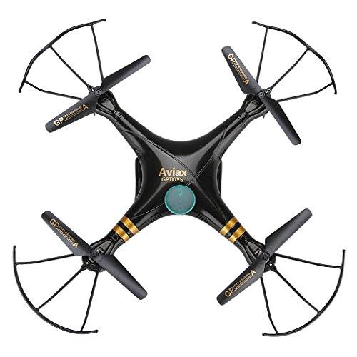 Gptoys F2C Aviax - Quadcopter Drone Falcon RC Cuadricóptero 3D (Modo sin Cabeza, 360 Grados, 4CH 6 Axis 2.4GHz, 2MP Cámara HD, Transmisor LCD) - Negro