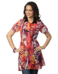 Love From India - Red Abstract Print Tunic_100224_RED_M