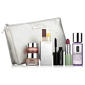 Clinique 2013 Deluxe Gift Set includes All About Eye Rich, Moisture Surge Extended Thirst Relief, Eye Shadow, Mascara, Lipstick and A Sleek Cosmetic Bag