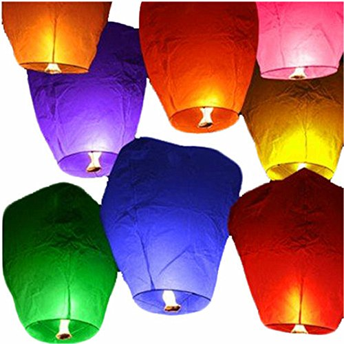 10 Multi-Colour Chinese Sky Lanterns Flying Floating Paper Lantern Party/Wedding/New Year/Birthdays