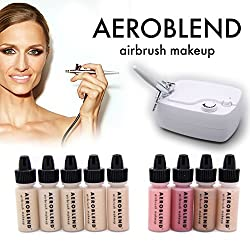 Aeroblend Airbrush Makeup Cosmetic Personal Starter Kit MEDIUM / 5 Airbrush Foundation, Bronzer, Highlight, Blush