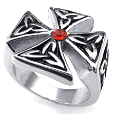 buy Bishilin Stainless Steel Fashion Men'S Rings Celtic Knot Cross Cz Ring Red Silver Size 12
