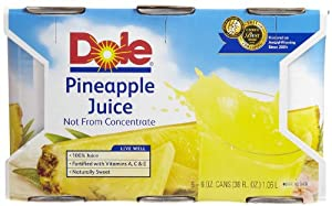 Dole 100% Pineapple Juice, 6 oz, 6 ct