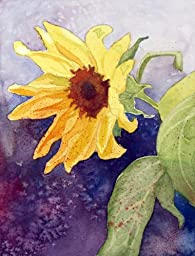 Giant Sunflower, Giclee Print of Watercolor Flower Picture, 10 X 13 Inches