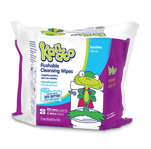 Kandoo Flushable Kids Wipes, Sensitive, 100 Count Refills (Pack of 6)
