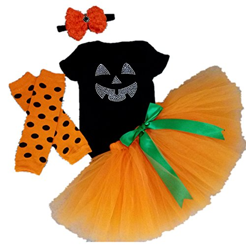 AISHIONY-Baby-Girls-1st-Halloween-Tutu-Onesie-Costume-Newborn-Dress-Outfit-4PCS