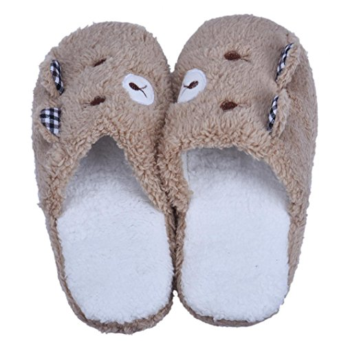Tenworld Lovely Bear Home Spa Soft Warm Winter Plush House Slippers (8-8.5, Coffee)