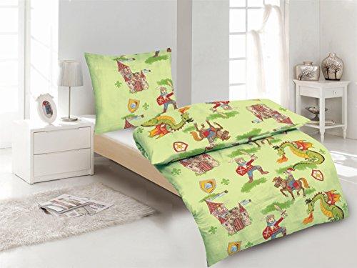 Aminata-Kids-schne-Jungen-Kinder-Bettwsche-135x200-cm-Ritter-aus-hochwertige-Baumwolle-mit-Reiverschluss-grn-Ritterburg-Pferd-und-Drache