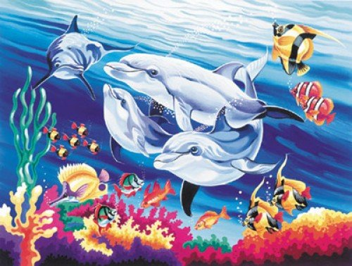 Reeves - Senior Painting By Numbers Underwater Dolphins