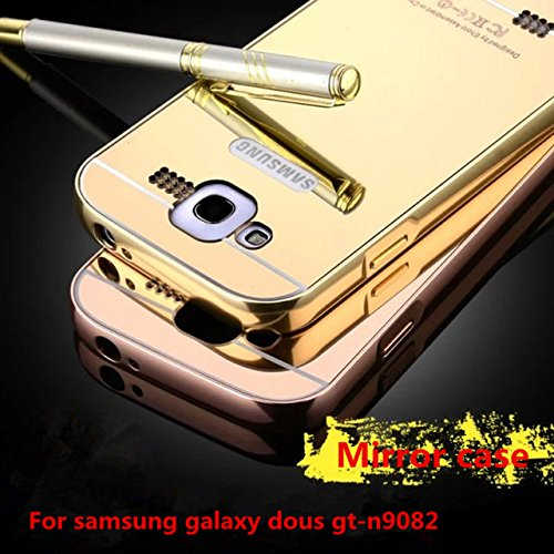 Febelo Branded Luxury Metal Bumper Acrylic Mirror Back Cover Case For Samsung Galaxy Grand Duos i9082 - Gold Plated  available at amazon for Rs.299
