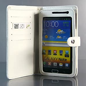 White / Wallet PU Leather Flip Case / Cover / Skin / Shell For Samsung Galaxy Note / GT-N7000 / i9220 +Free Screen Protector (7194-3)