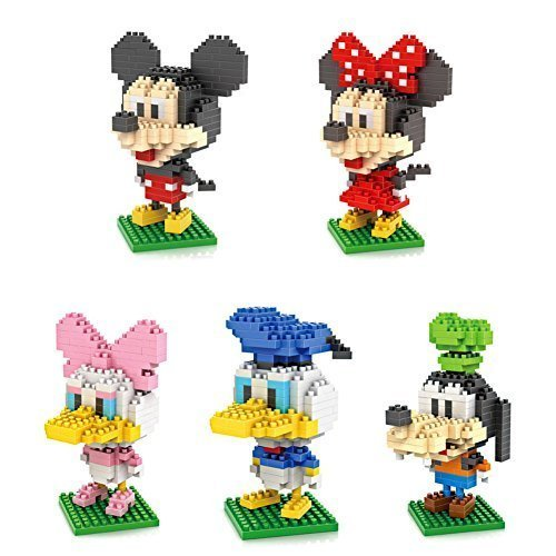 5box LOZ Diamond Block Mickey Mouse Donald Duck Micky Minny Goofy Toys 1190pcs Parent-child Games Building Blocks Childrens Educational Toys