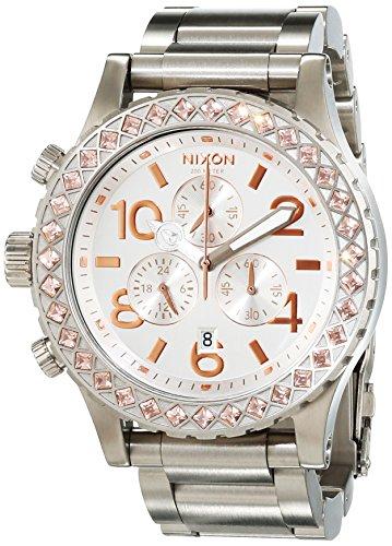 Nixon 42-20 Chrono Silver / Light Gold Crystal A0371519-00 - Orologio da polso da donna, cinturino in acciaio inox colore argento