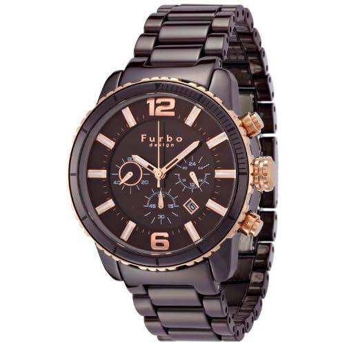 [フルボデザインイルソーレ]Furbo Design Ilsole 腕時計 FS405 ソーラークォーツ クロノグラフ ブラウンセラミック×ピンクゴールド メンズ FS405CPBR メンズ