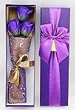 【kshop】 ソープフラワー 父の日 母の日 誕生日 等 お祝い 時の プレゼント に最適 薔薇の花束 【 紫 3本 】