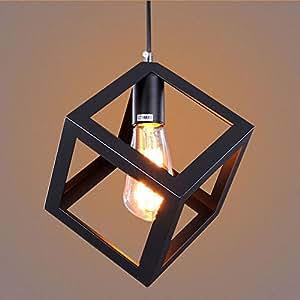 Leyden Black Square Chandelier Modern 110 220V 1 Edison Bulb Dining Room Glas