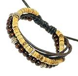 Neptune Giftware Multi-Strand Coco Heishi / Wood & Cord Wristband Bracelet - 216