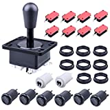 Gamelec Arcade Buttons and Joystick Kit with Upgrade Version Joystick,8 Push Buttons(1P/2P White Buttons & 6pcs Black Buttons) for Arcade Video Game Multicade MAME Jamma Game