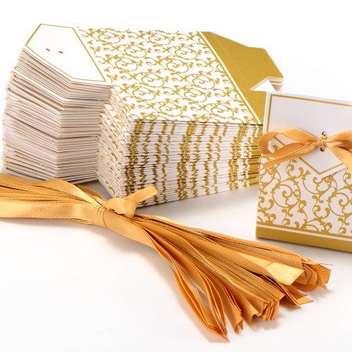50pz-Carta-di-Bomboniera-Scatolina-Per-Confetti-Comunione-Compleanno-Matrimonio-Oro-Nastro