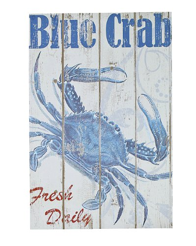 Coastal Maryland Blue Crab Wooden Wall Plaque Art Decor